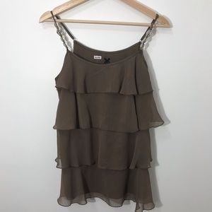 3/$25 Lapis brown ruffle top with beaded detail